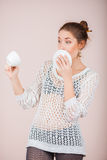 Suprised Woman with cup and saucer Royalty Free Stock Photos