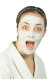 Suprised woman with face mask Royalty Free Stock Image