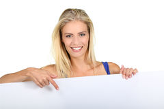 Suprised Young Lady with Sign Board Royalty Free Stock Photos