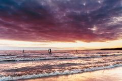 Supsurfers float towards the sunset on paddle boards, competitio. Ns on sapsurfing Stock Images