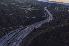 Supulveda Pass San Diego 405 Freeway Dusk Royalty Free Stock Image
