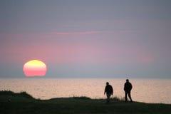 sur захода солнца mer colleville Стоковая Фотография