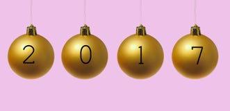 2017 sur des boules de Noël Photos libres de droits