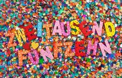 2015 sur des confettis Images libres de droits