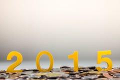 2015 sur des pièces de monnaie Images stock
