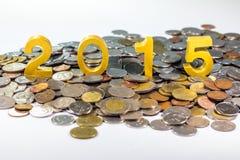 2015 sur des pièces de monnaie Images libres de droits