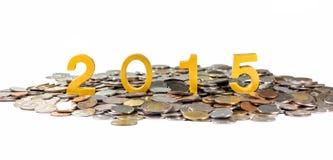 2015 sur des pièces de monnaie Photo stock