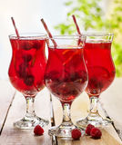 Sur en bois est le verre glacé de boisson avec le cocktail de baies Photographie stock