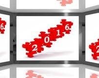 2016 sur l'écran montre des prévisions Photos libres de droits