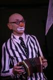 Sur l'étape, un comédien, clown, pantomime, acteur d'étape, acteur de théâtre et de film, étoile du pantomime de théâtre de panto Image stock