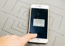 Sur l'iPhone 7 plus le logiciel d'application Images stock