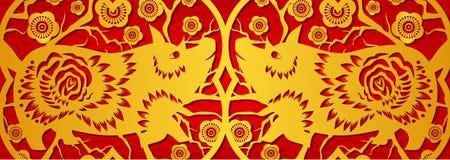 Or sur la bannière horizontale de porc rouge pendant la nouvelle année chinoise Année du porc 2019 illustration stock