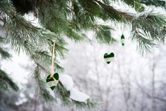 Sur la branche couverte de neige des arbres de Noël, les décorations de Noël accrochent sous forme de boules transparentes, coeur Images stock