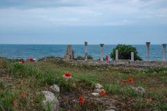 Sur la côte de la Mer Noire de l'Ukraine, les ruines des bâtiments du grec ancien La Crimée, Hersonissos, Sébastopol image stock