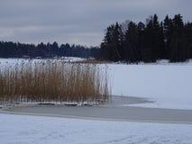 Sur la glace nous pouvons patiner notre archipel et sa belle nature de elle Images libres de droits