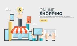 Sur la ligne achats et les méthodes de paiement Paiements mobiles Vecteur plat illustration libre de droits