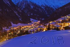 2018 sur la neige aux montagnes - Solden Autriche Photos libres de droits