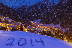 2014 sur la neige aux montagnes - Solden Autriche Image stock