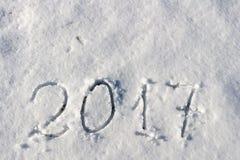 2017 sur la neige pour la nouvelle année et le Noël Filtre appliqué Images stock