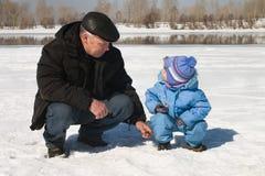 Sur la pêche Image libre de droits