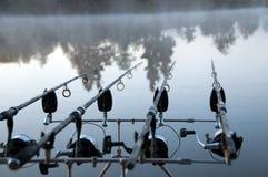 Sur la pêche de matin Photos stock