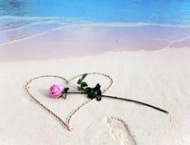 Sur la plage un coeur est tiré et les mensonges de rose Photographie stock libre de droits
