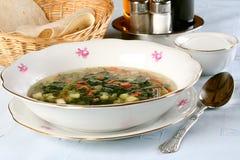 Sur la table couverte de plat de soupe végétarienne photos libres de droits