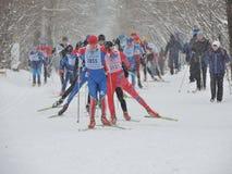 Sur la voie 3 de ski Photos libres de droits