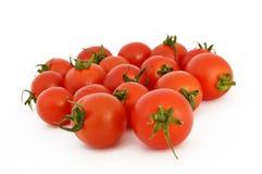 Sur le blanc et la copie espacez les photos courantes saines fraîches de tomates-cerises Photo stock