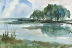Sur le bord de lac Photo libre de droits