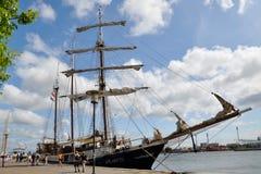 Sur le bord de mer de Copenhague, le voilier trois-mâté l'Atlantide, Danemark images stock