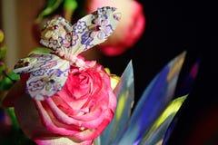 Sur le bourgeon des roses roses repose un papillon Papillon de jouet sur une fleur rose Images libres de droits