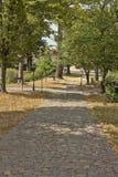 Sur le château chacun des deux d'Uzhgorod de patio de trottoir dans les halls de musée Photographie stock libre de droits