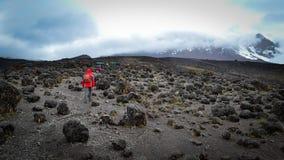 Sur le chemin à la vue supérieure de kilimanjaro Images libres de droits