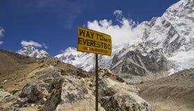 Sur le chemin au sagarmatha NP de camp de base d'everest Images libres de droits