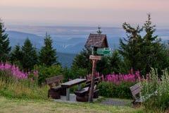 Sur le chemin par la forêt de Thuringian dans sa pleine gloire photographie stock