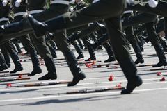 Sur le défilé militaire Images libres de droits