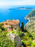Sur le dessus du village d'Eze La Provence, France photo libre de droits