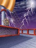 Sur le fond de ciel de bateau et de coup de foudre de pirate illustration libre de droits