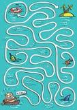Sur le jeu de labyrinthe de mer Image stock