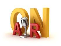Sur le mot et le microphone d'air Photographie stock libre de droits