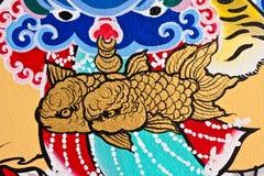 Sur le mur dans le temple chinois Photographie stock libre de droits