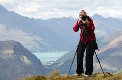 Sur le photographe de voyage d'emplacement Photos stock