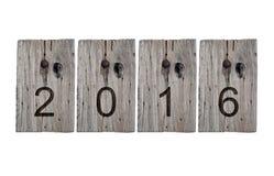 2016 sur le vieux signe en bois Image libre de droits