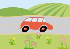 Sur-le-voie de véhicule de dessin animé Photographie stock