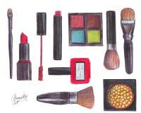 sur les objets blancs de beauté de fond : fard à paupières, brosses, rouge à lèvres, vernis à ongles, maskara, fard à joues Espri illustration libre de droits