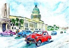 Sur les rues de La Havane, la capitale du Cuba Aquarelle humide de peinture sur le papier Aquarelle de dessin sur le papier illustration de vecteur