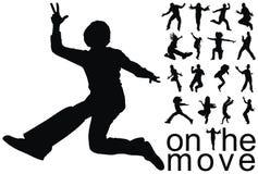 Sur les silhouettes de gens de mouvement Photo stock