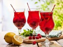 Sur les verres glacés en bois de boisson avec le cocktail rouge de baies Image libre de droits