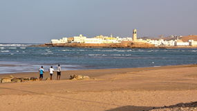 SUR, OMAN: View of Ayjah from the main beach of Sur Stock Photography